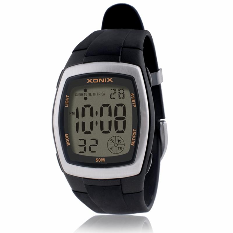 ساعة رياضية دقيقة للرجال ، ساعة توقيت رقمية LED ، للطلاب ، مقاومة للماء حتى 50 متر ، ساعة سباحة ، غوص ، منبه ، حزام PU BW