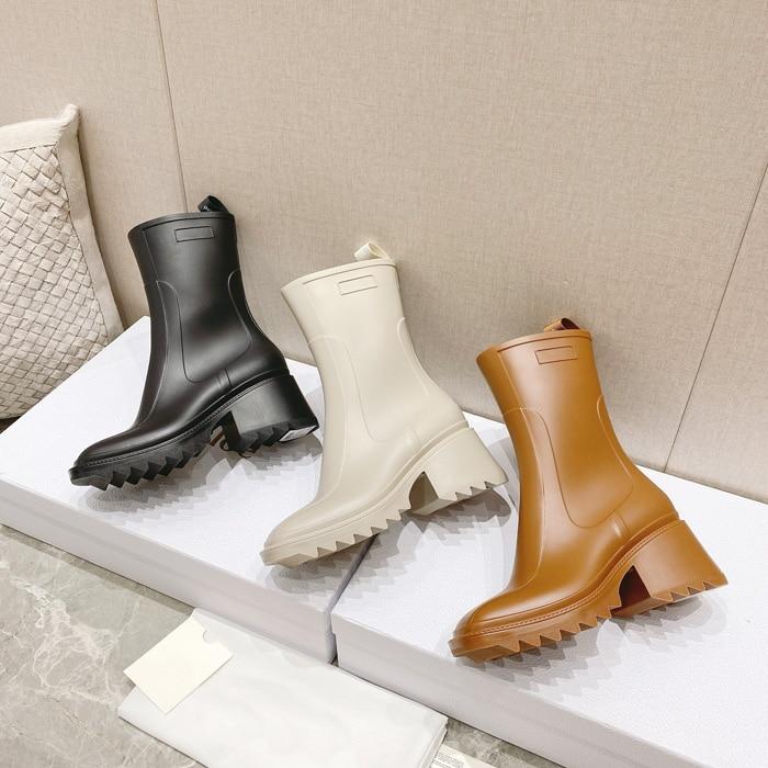 Square toe Rain boots women boot Chunky heel platform ankle boots Anti-slip boots mid-tube Martin boots Rain boots