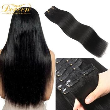 Doreen pleine tête brésilienne Machine Remy pince dans les Extensions de cheveux cheveux humains 100% réel naturel postiche Clips sur 120G 14 à 22