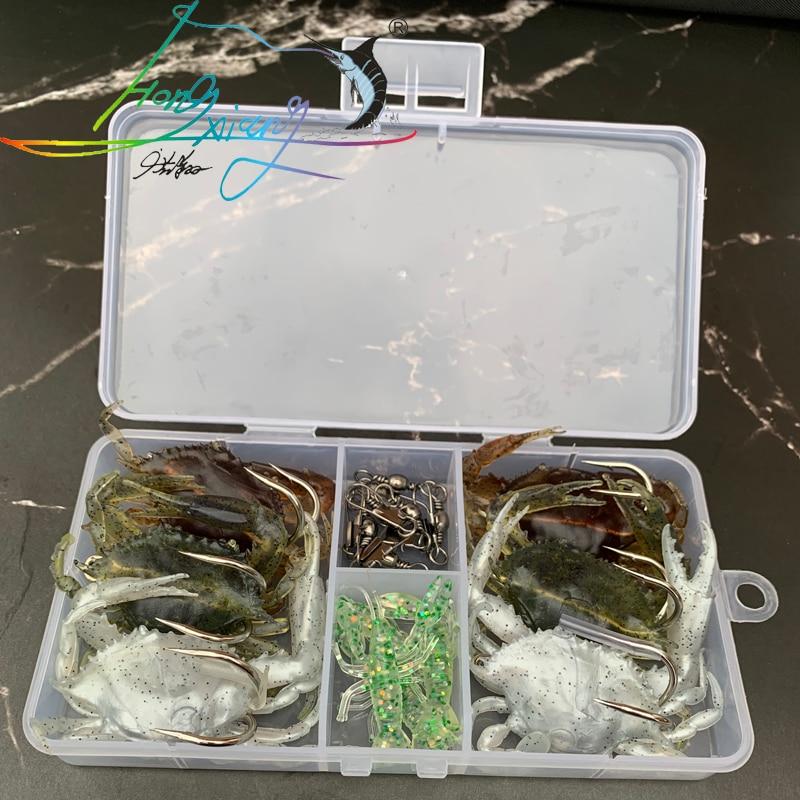 7-17pcshot-sellingsell mais isca de carpa conjunto de isca macia caixa de equipamento artificial caranguejo pesca conjunto isca ver pesca um favorito do peixe