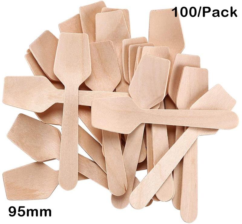 Promoción-suministros para fiestas de boda, vajilla desechable de 95mm agitación de café/cuchara de madera para helado, 100/paquete