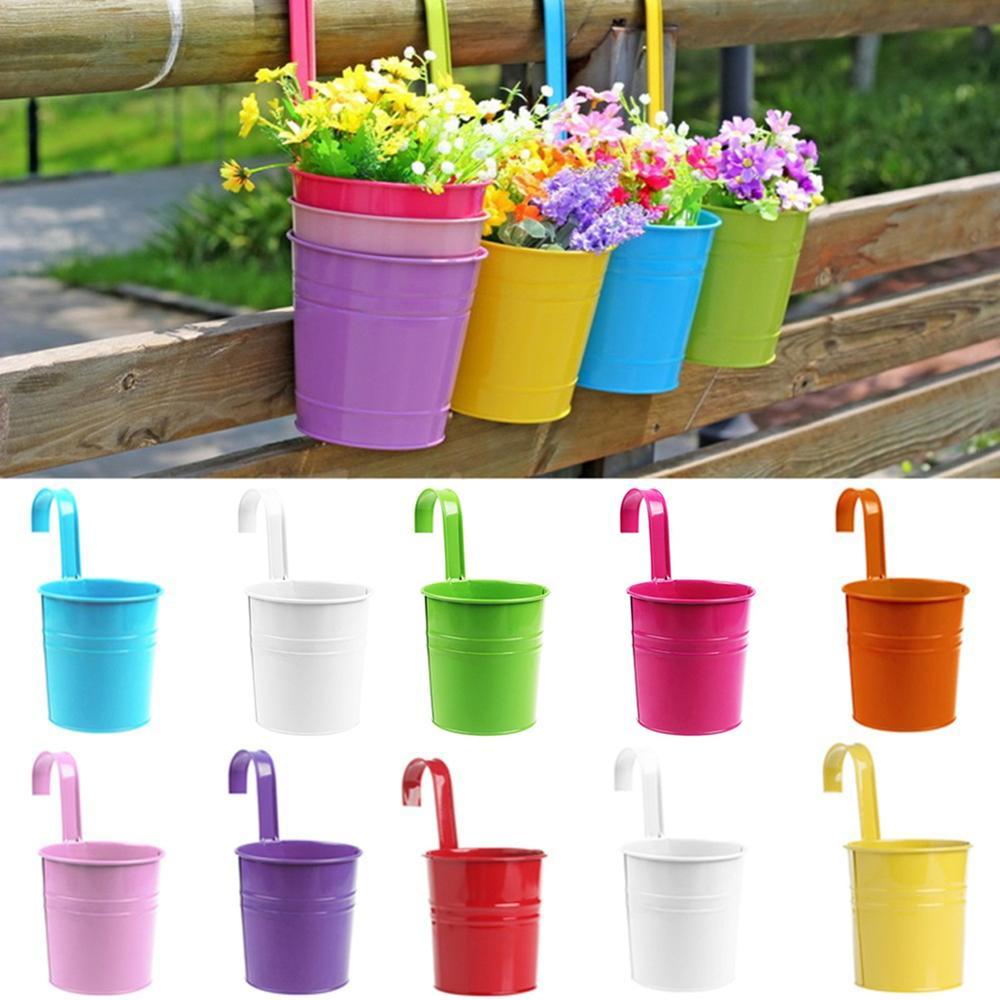 Creative Hanging Basket Flower Pot Removable Plant Pots Multicolor Balcony Metal Iron Planter Garden