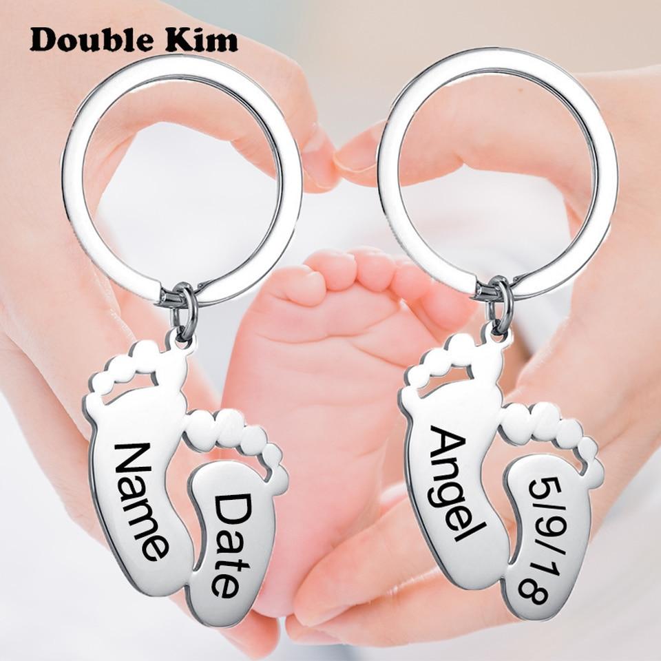 Custom Baby Birthday Foot Keychain Personalized DIY Engraved Name Date Foot Footprint Stainless Steel Keyrings for Mom Gift недорого
