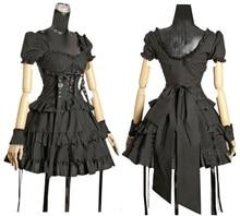 Rétro gothique Steampunk Lolita sangle en métal col carré serré taille noeud dos nu robe de bal robe femmes Costume vestido ropa mujer