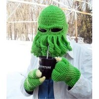 squid hat heavy hand knitted wool octopus hat outdoor octopus ski hat winter new all inclusive warm wool beard hat funny hat