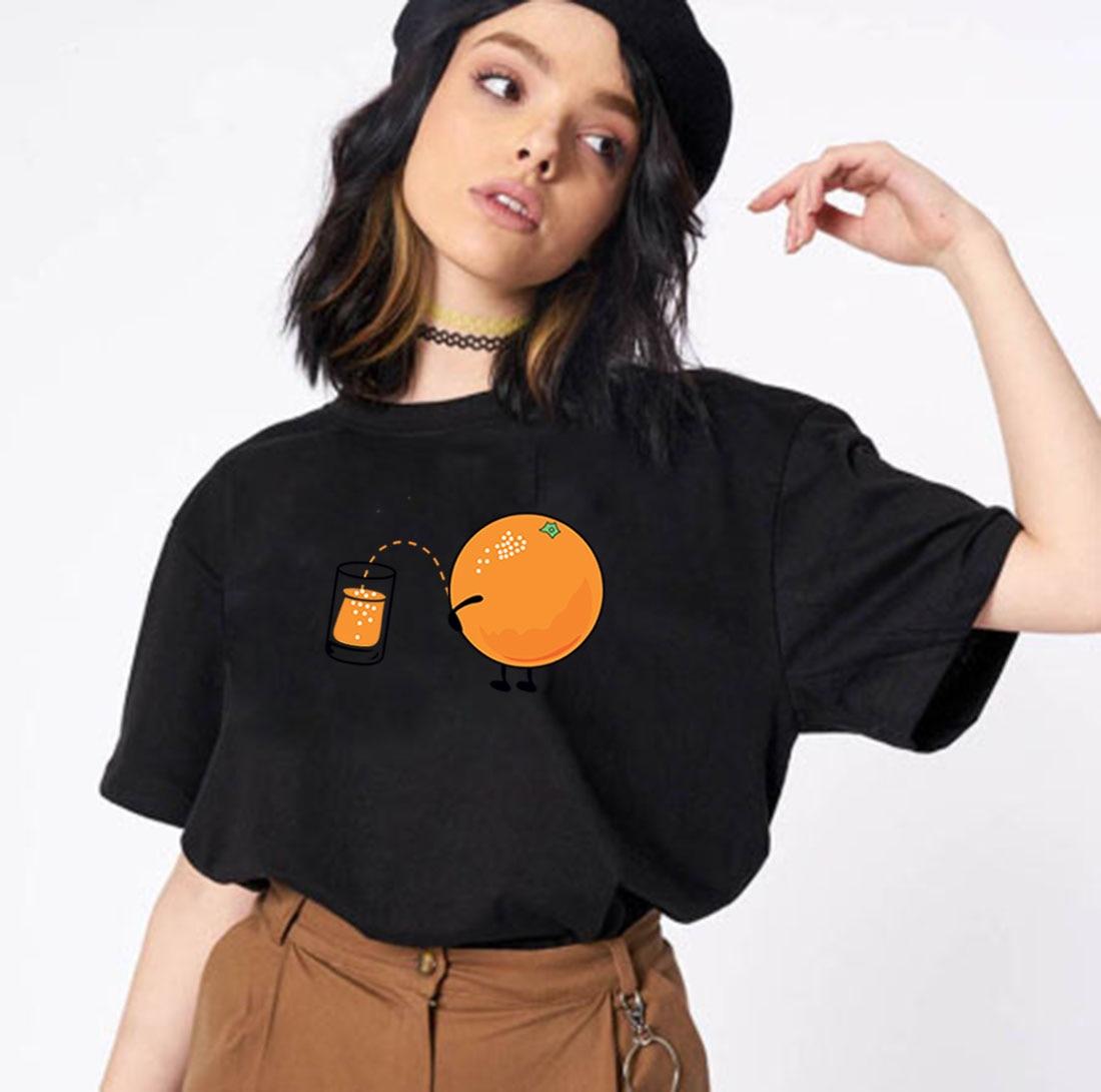 Jugo de naranja gráfico T camisa mujeres Camiseta Harajuku Mujer Shrot de...