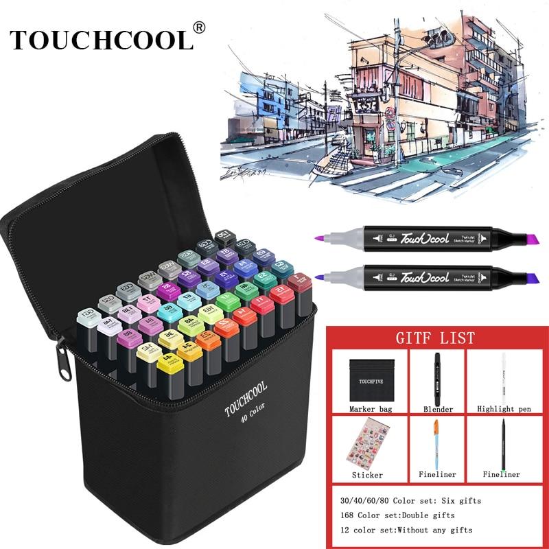 TOUCHCOOL 30/40/60/80 Color Sketch Marker Alcohol Markers Art Drawing Manga Dual Tips Marker Pen Set Black Body Art Supplier