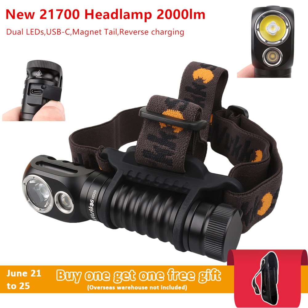 New Color Wurkkos HD20 Headlamp 2000lm Dual LH351D 5000K USB-C Rechargeable Headlight with Magnetic tailcap