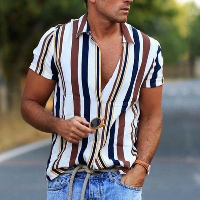 Hot style 2020 summer new striped shirt men's casual shirt short sleeve top