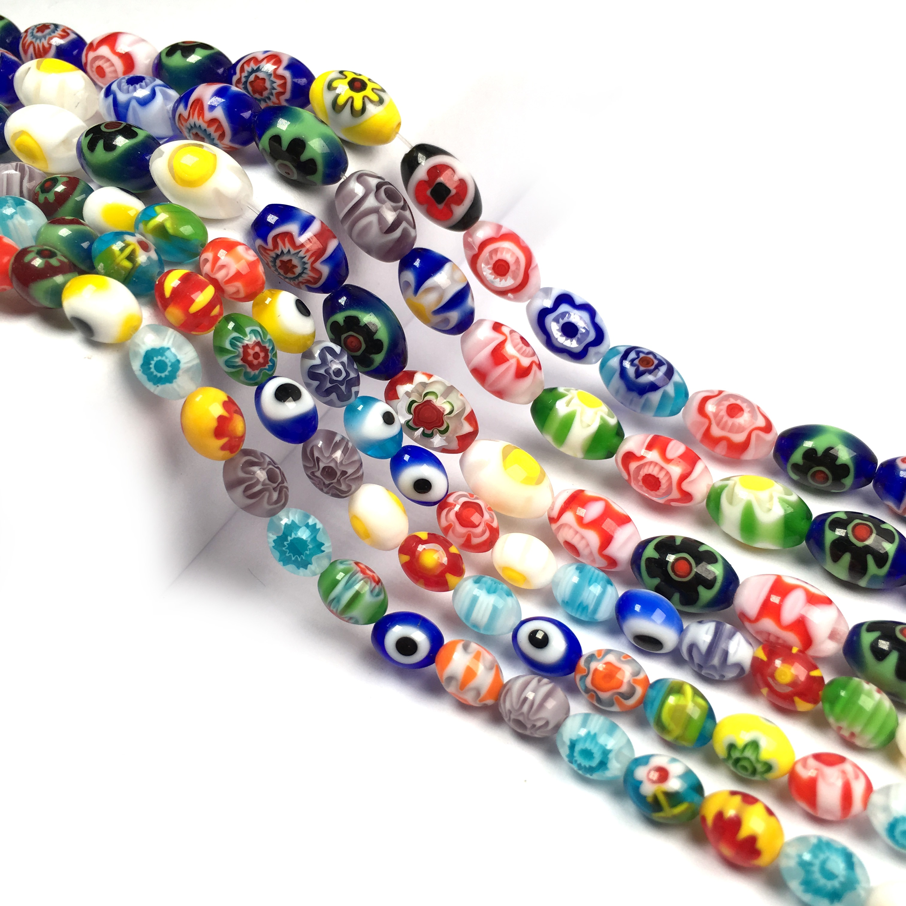 Millefiori Flower Lampwork Glass Beads Loose Spacer Beads for Jewelry Making DIY Supplies Fit Necklace Bracelet  - buy with discount