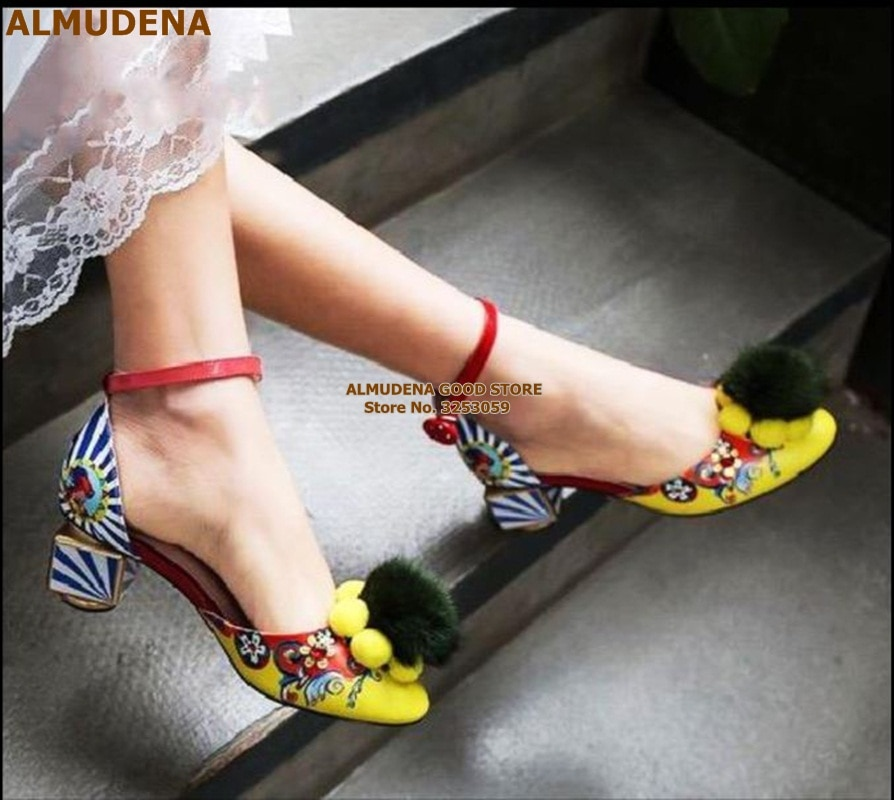 ALMUDENA Retro Style Printed Chunky Heels Pumps Cute Yellow Pom Pom Fur Dress Shoes Women Floral Wedding Heels Fluffy Prom Shoes