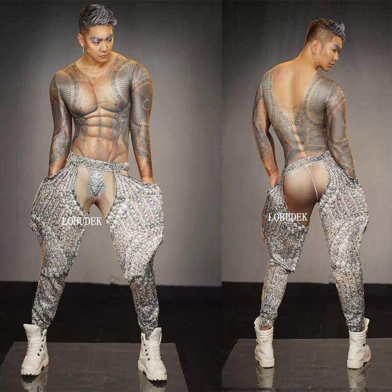 Sexy Bar Club Men Pole Dance Costume Muscle Man Tattoo 3D Print Jumpsuit Stretch Skinny Tights Acrobatics Performance Jumpsuits