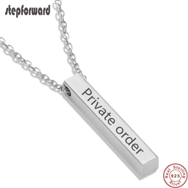 Collar con grabado personalizado, barra 3D cuadrada personalizada, collar con nombre personalizado, colgante de plata 925, regalos para hombres y mujeres