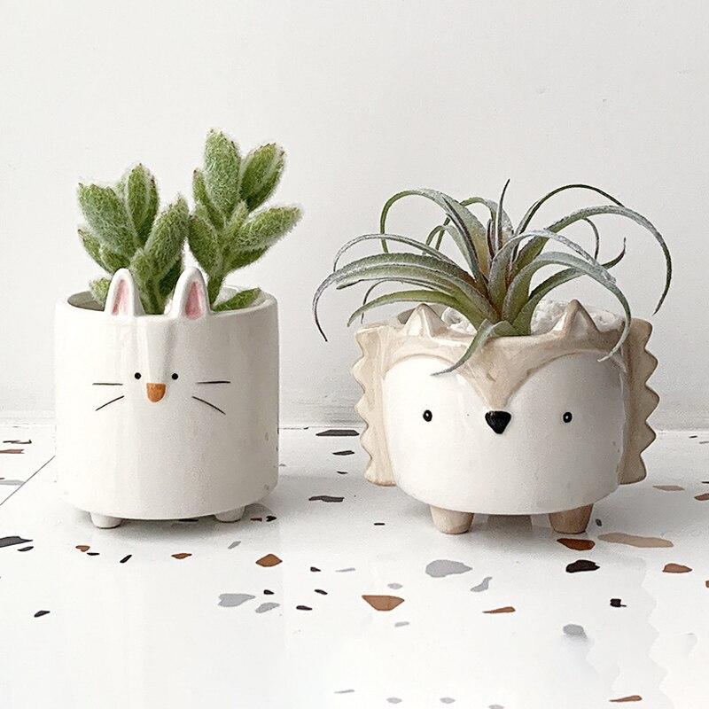 Maceta de animales bonitos, minimaceta de cerámica para suculentas, recipiente para cachorros de erizo, decoración de escritorio para dormitorio y jardín, regalo de cumpleaños