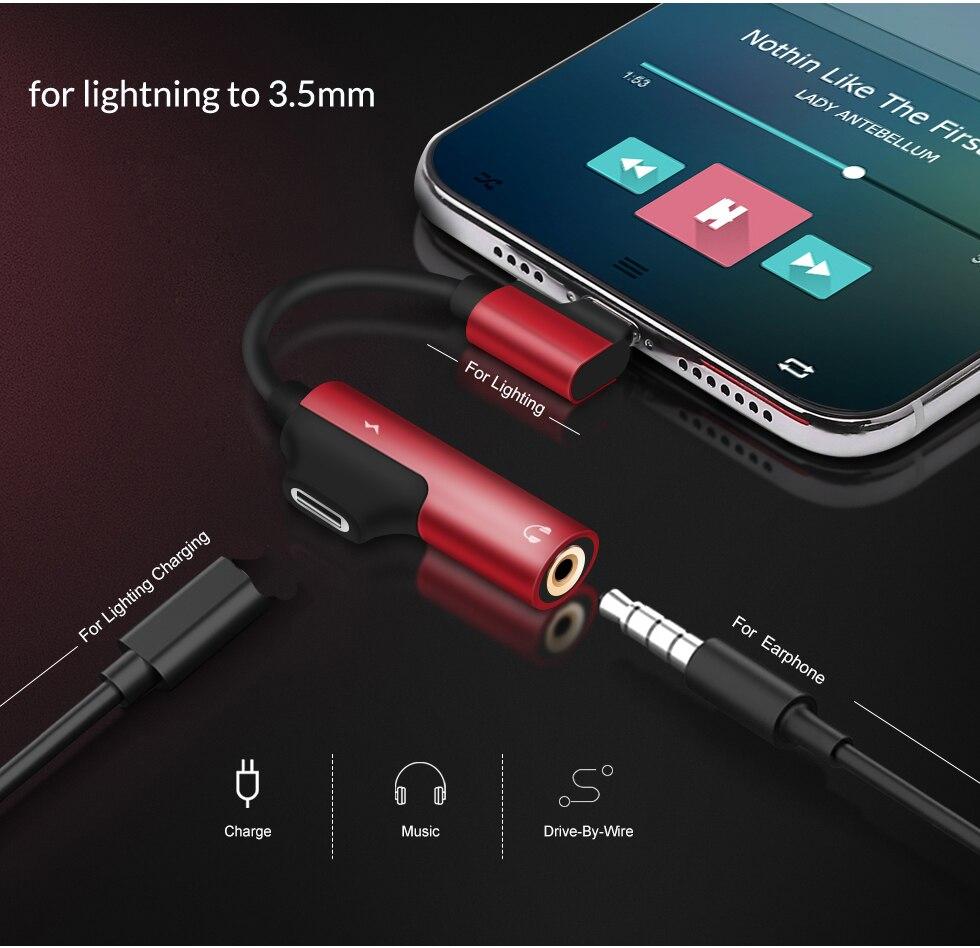 Adaptador divisor de carga de Audio Aux para Lightning a conector de 3,5mm Jack auricular OTG para iPhone 11 Pro Xs Max X 8 7 Plus