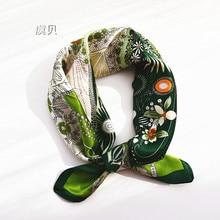 Foulard en soie naturelle verte pour femmes, foulard en soie 100% vraie, petit mouchoir carré de 50cm, cadeau pour dames