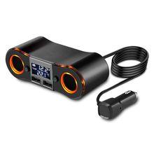 Toma de encendedor de cigarrillos divisor ZNB02 adaptador de cargador de coche 3.5A puertos USB duales voltímetro de soporte/pantalla LED de temperatura para i