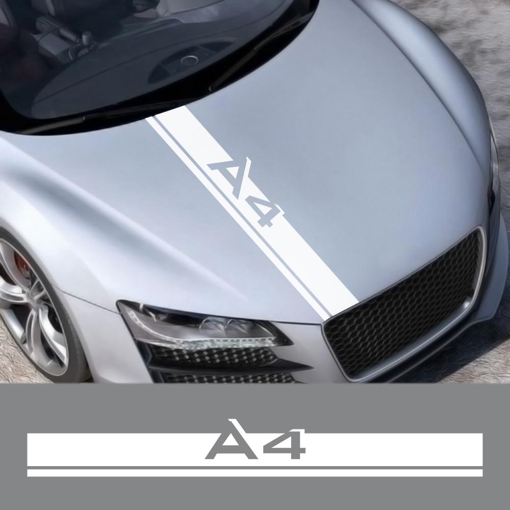 Car Hood Sticker For Audi A4 B8 B6 B7 B9 Sedan 4.0 Tfsi S Line Avant Allroad Car Accessories Vinyl Film Bonnet Decoration Decals