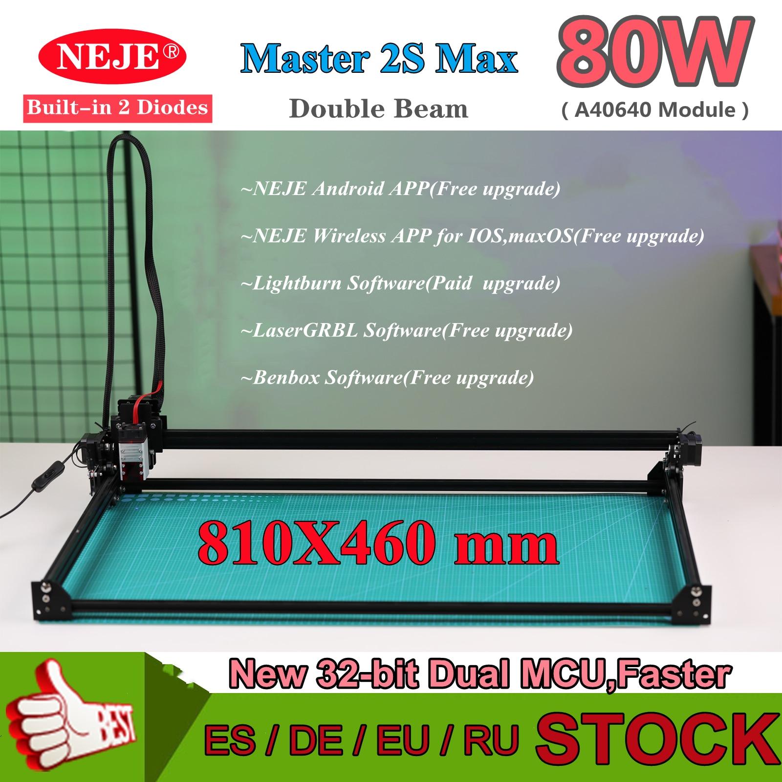 NEJE Master 2s Max 80W High Power CNC Laser Engraver Wood Engraving Cutting Machine 2PCS Diodes APP Control Lightburn LaserGRBL