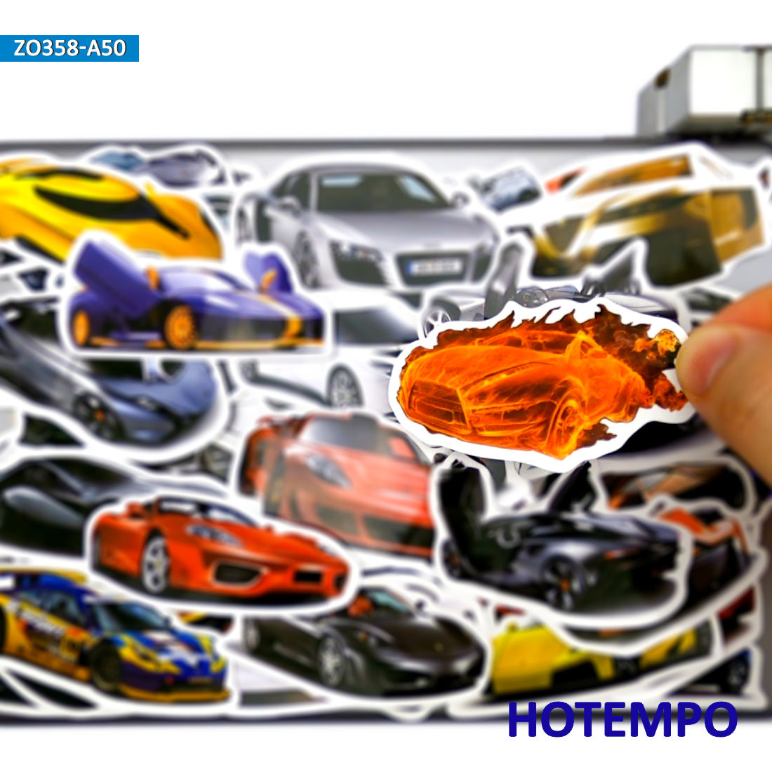 50 Uds. Pegatinas de coche deportivo a la moda estilo Roadster juguetes para niños DIY maleta para portátil móvil PAD Case Skateboard calcomanías Adhesivos para coche