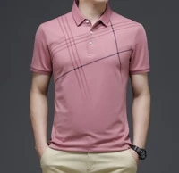 mens polo shirt 2021 summer business casual bottoms in youth striped printed short sleeved polo shirt