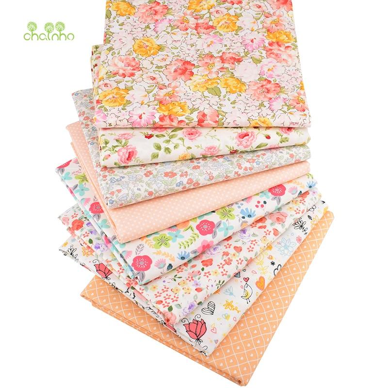 Chainho,8 unids/lote, serie Floral naranja, tela de algodón de sarga impresa, tela de retales, Material de acolchado de costura DIY para bebés y niños