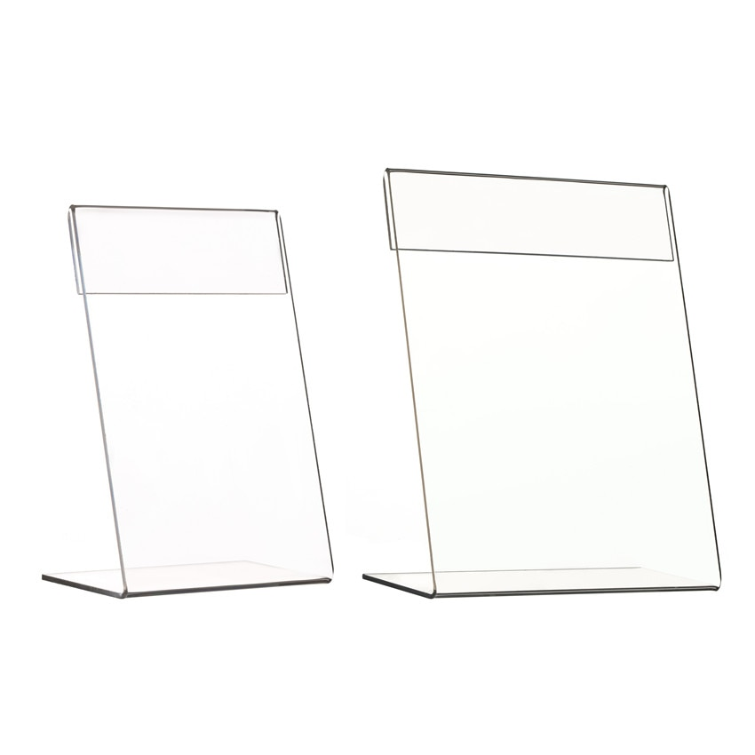 Acrylic L Sign Price Label Display Holders Stands for Paper Tag Card Signage Promotion Clear in Vertical T1.3mm 30pcs