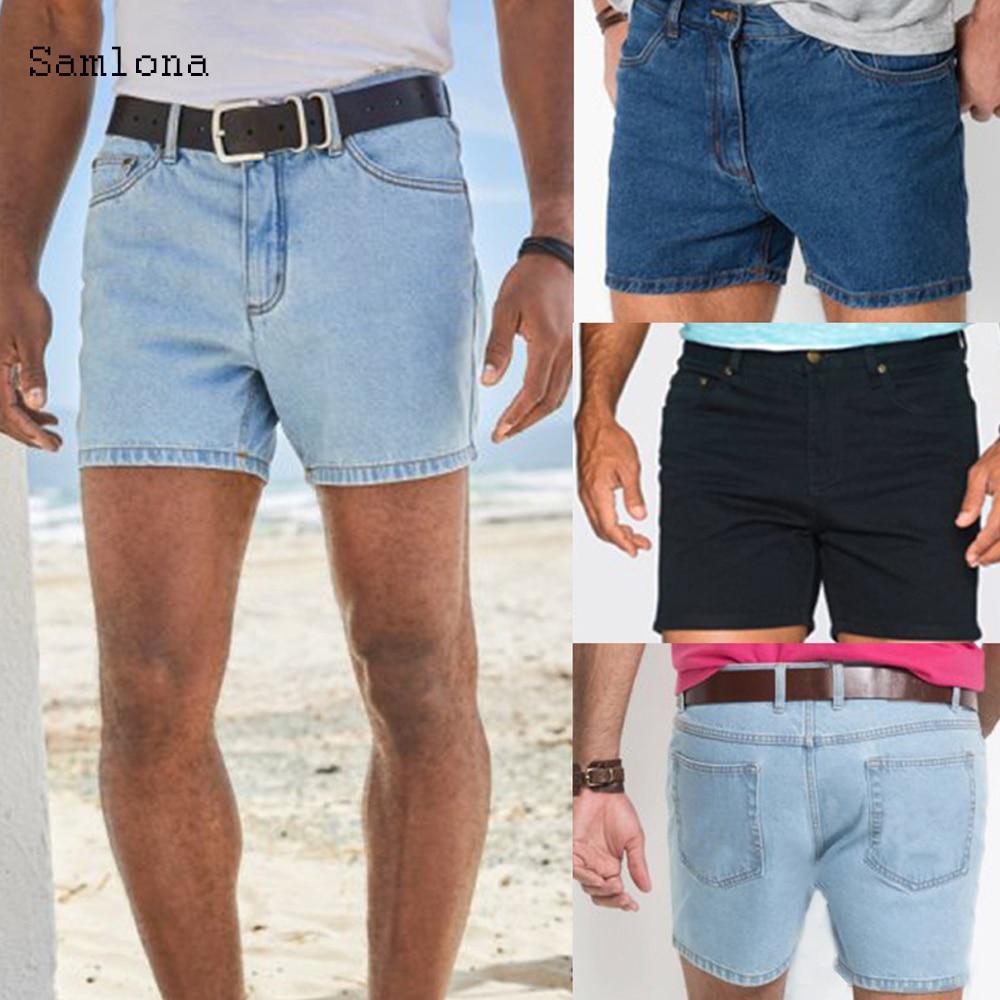 Samlona Zomer Nieuwe Westerse Mode Shorts Jeans Mannen Rechte Toevallige Trend Alle-Match Classic Eenvoudige Denim Shorts Heren Geen riem