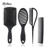 black heat resistant carbon hair brush set with nylon pins detangling wet hairdressing brush paddle massage cushion brush