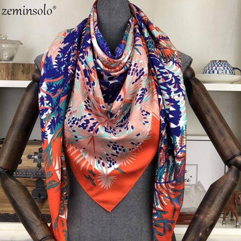 100% Twill Silk Square Scarf Women Scarves Shawls Floral Print Neckerchief 130*130cm Bandana Satin Female Foulard Scarf Fashion