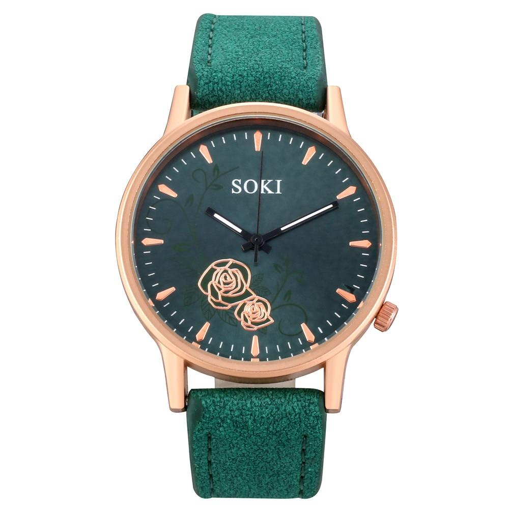 Exquisite Luxury Women Watch Fashion Leather Band Analog Quartz Round Wrist Watch Watches Women's Go
