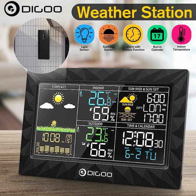 DIGOO DG-TH8988 LCD محطة الطقس الملونة في الهواء الطلق مستشعر عن بعد ميزان الحرارة الرطوبة غفوة ساعة شروق الشمس غروب الشمس التقويم