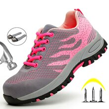 Steel Toe Work Safety Shoes For Women Lightweight Breathable Sneakers Anti-Smashing Non-slip Protect