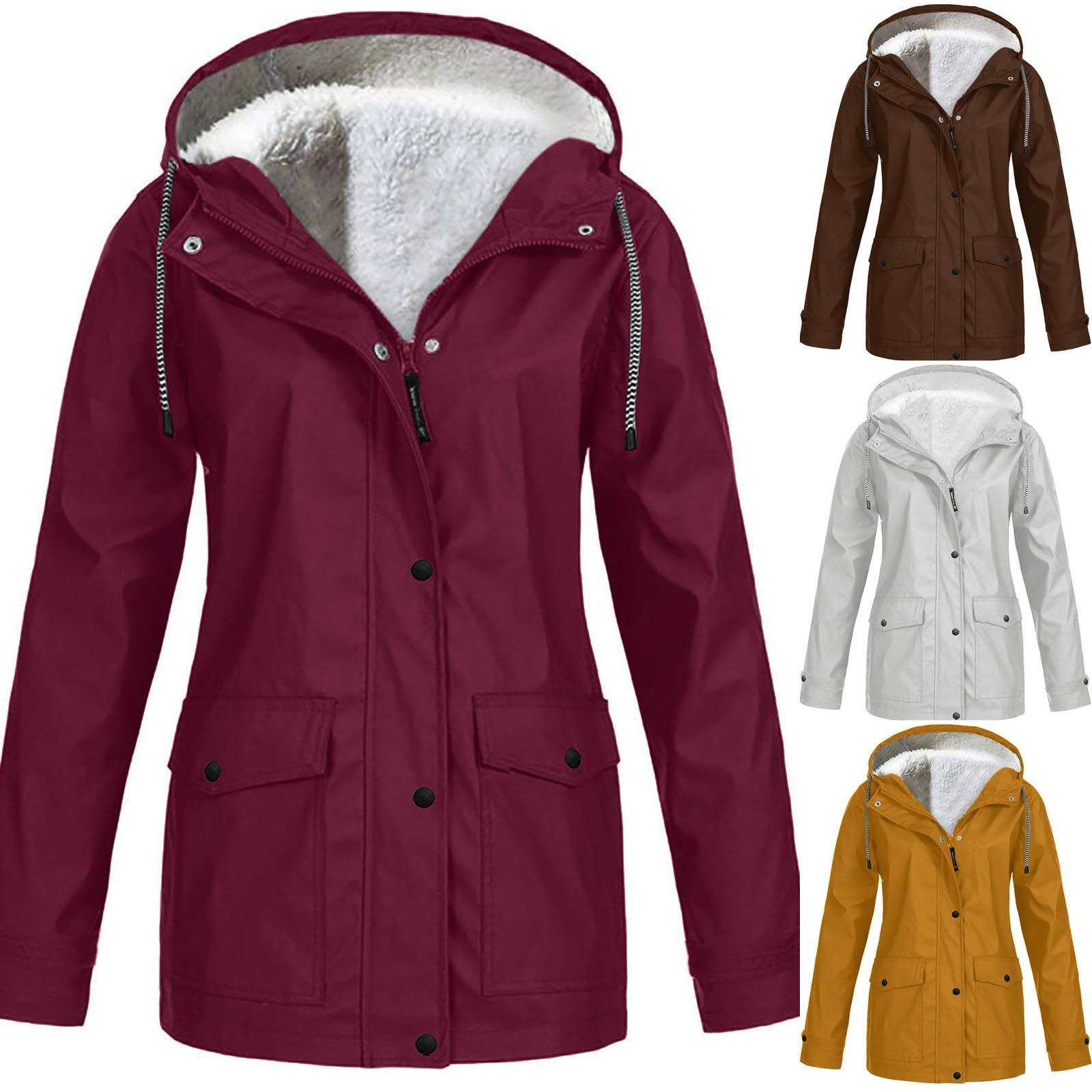 Women Solid Plush Rain Outdoor Plus Size Hooded Raincoat Windproof Jacket Coat Vetement Femme Woman