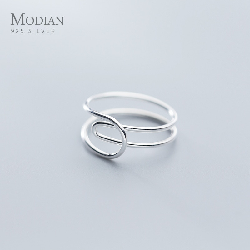 Anillo Simple Modian de tamaño libre para mujer, regalo de moda geométrico de doble capa, línea de plata esterlina 925, anillo de joyería fina 2020 nuevo