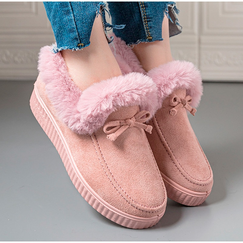 Women Snow Boots Shallow Cotton Shoes Ladies Suede Leather Waterproof Thick Plush Warmth Winter Fema