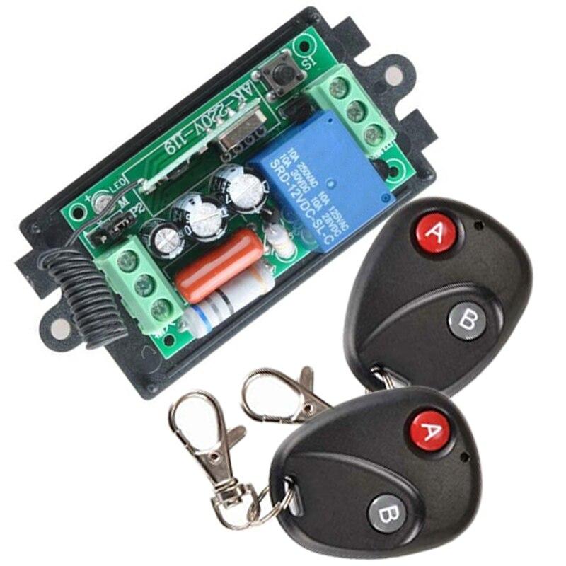 Módulo de interruptor de Control remoto inalámbrico AC 220V 1CH RF 433MHz Kit de relé de código de aprendizaje + controladores remotos