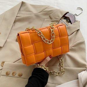 Women's Shoulder Bags Weave Leather Flap Bag For Women 2020 New Brand Designer Handbags Thick Chain Crossbody Bags Female