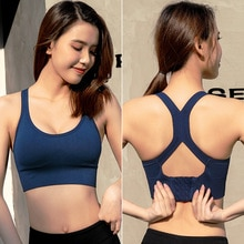 Push Up Bra  Women Sports Bras Breathable Wirefree Padded Push Up Sports Top Fitness Gym Yoga Workou