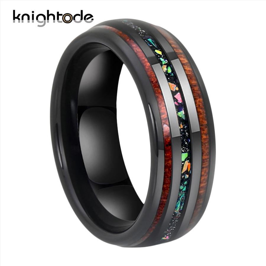 8mm Black Tungsten Carbide Wedding Rings Fire Opal/Hawaii Koa Wood Inlay For Men Women Party Jewelry Domed Polishing Comfort Fit