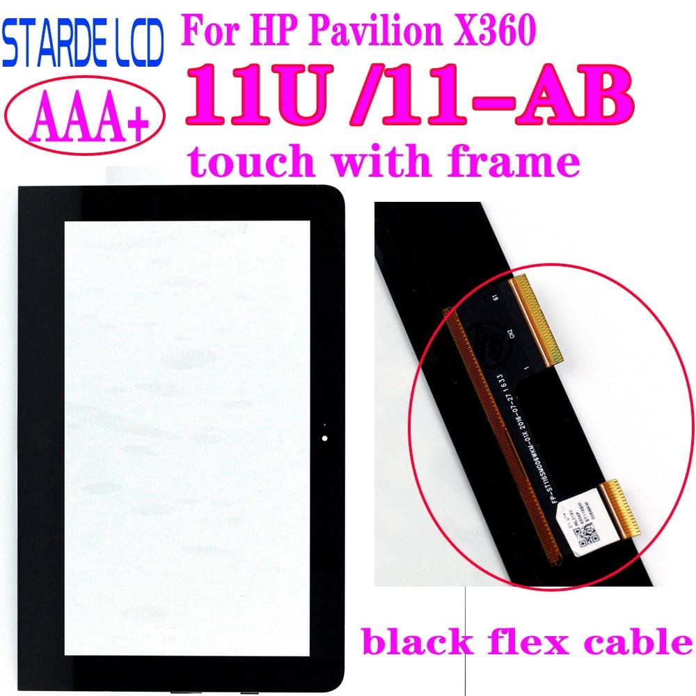 AAA + para HP Pavilion X360 11U 11-U 11-U054TU 11-ab conectores de Cable Flex negro digitalizador de pantalla táctil con marco