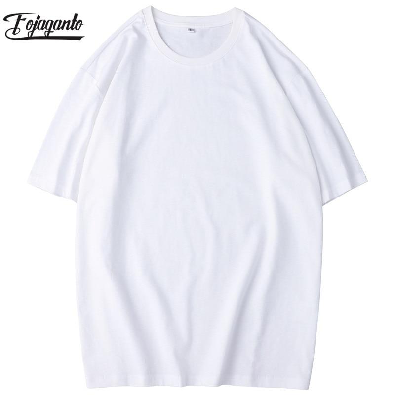FOJAGANTO Summer Men Cotton T-Shirt Fashion Brand Men's Simple Wild T Shirt Male Harajuku Solid Short Sleeve T Shirts Tops