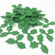 Appliques en feutre, feuilles de houblon vertes, bricolage, pour décoration de noël, bricolage 36mm, 200 pièces