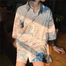 Harajuku Streetwear Blouse Shirt 2020 Spring Short Sleeve Turn-down Collar Top Digital Printing Woman Man Oversized Shirts