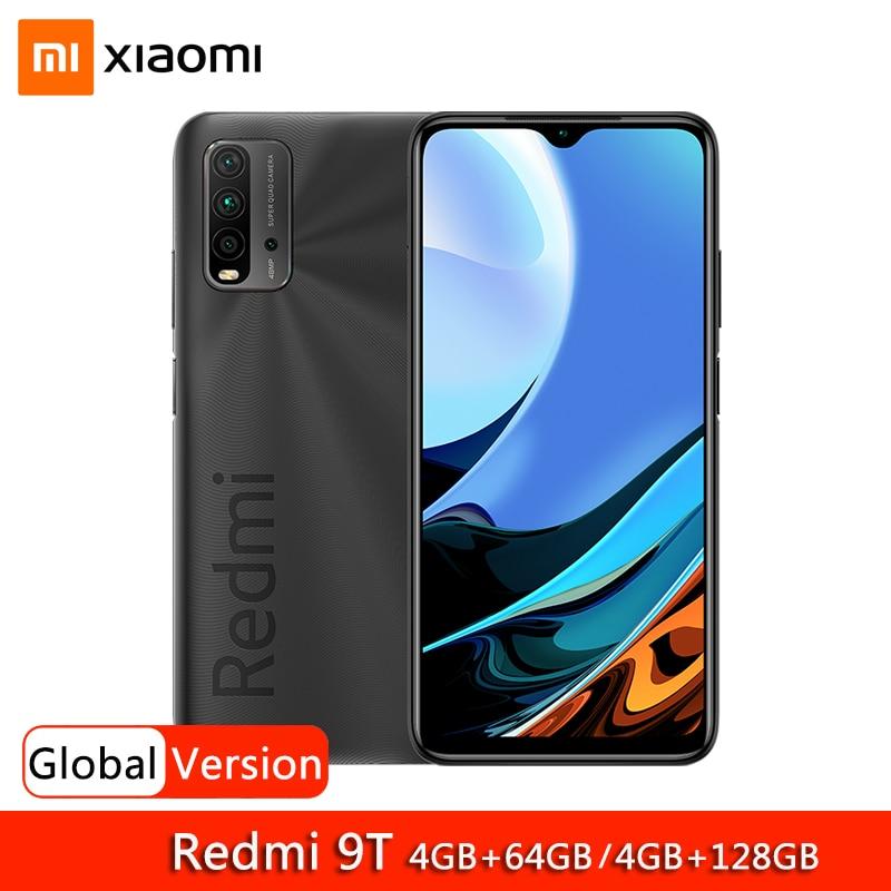 """Versão global xiaomi redmi 9 t 9 t 4gb 64gb 128gb smartphone snapdragon 662 48mp quad camera 6000mah 6.53 """"fhd + display"""