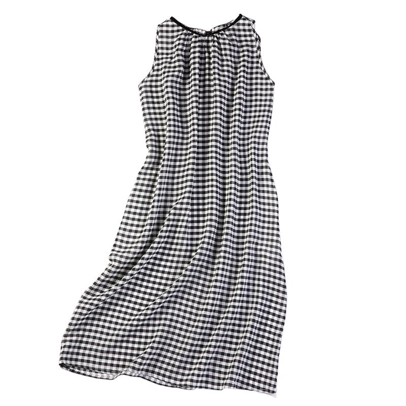 فستان نسائي طويل من الحرير الخالص 100% ، بدون أكمام ، مع جيب ، مقاس واحد JN032