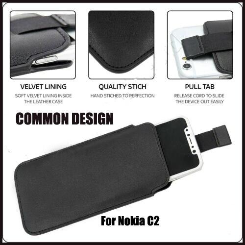 Casteel PU Pull Tab manga bolsa Funda de cuero para Nokia C2 5,3 cubierta de la Caja