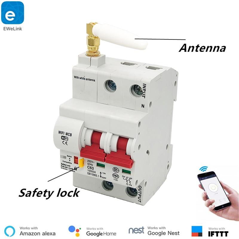 Ewelink 2 p controle remoto interruptor de wi-fi/interruptor inteligente/inteligente automático recloser sobrecarga proteção contra curto circuito