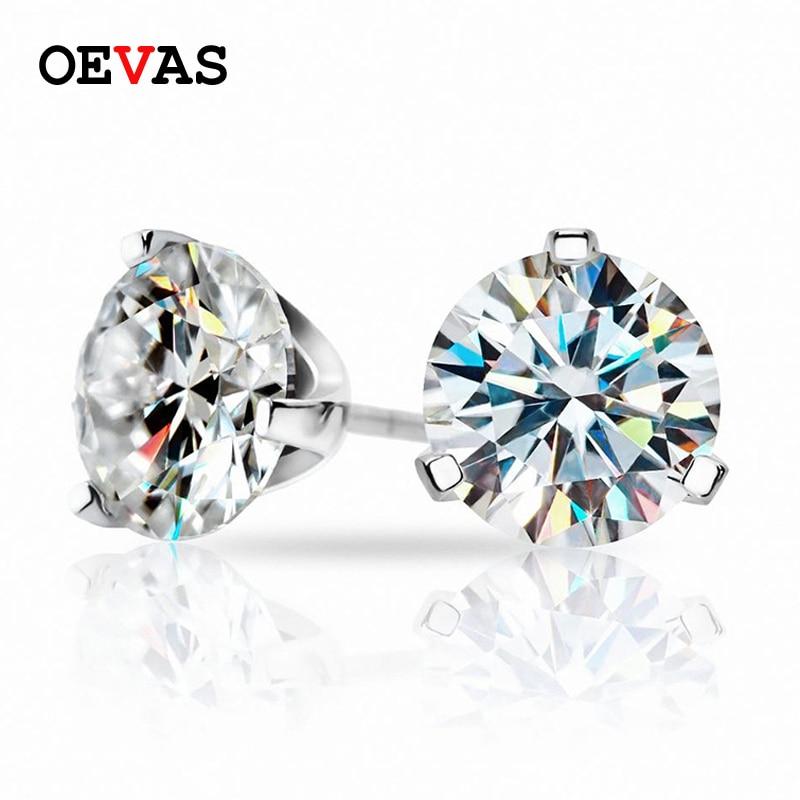 OEVAS الحقيقي 1.5 قيراط جولة المويسانتي أقراط للنساء 100% 925 الاسترليني الفضة تألق الزفاف حزب غرامة مجوهرات هدية