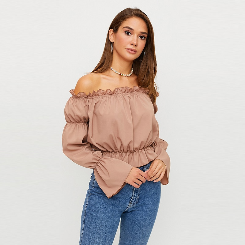 Women Office Lady Off the Shoulder Ruffled Blouse Long Sleeve Slash Neck Solid Casual Tops 2021 Summer Streetwear Women Blouse  - buy with discount